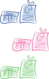 Clip-art Set: Pastel-colored gift packages (II). Set of gift packages in pastel colors Royalty Free Stock Photos