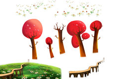 Clip Art Set: Red Trees, Grass Land, Bridge isolated on White Background. Royalty Free Stock Image