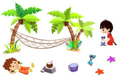 Clip Art Set: Sand Beach Stuff: Boy, Girl, Palm Tree, Hammock, Sands, Coconut Milk, Bucket, Shovel etc. Stock Photos
