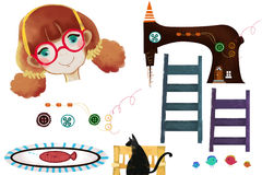Clip Art Set: Sewing Machine, Girl, Ladder, Cat, etc. Stock Images