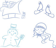 Clip-art Set: Winter Season Stock Photography