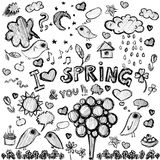 Clip art  spring black&white illustrations Stock Photos