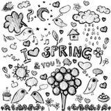 Clip art  spring black&white illustrations. Vector clip art spring black&white illustrations Stock Photos