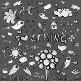 Clip art spring black&white  illustrations. Vector clip art spring black&white contour  illustrations gray background Stock Photos