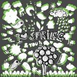 Clip art spring green&white illustrations Stock Image