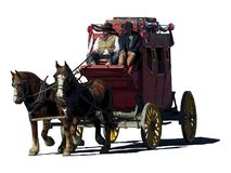 Fantasy illustration of a stagecoach traveling to the left stock illustration
