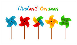 Clip art vector windmill origami colorfull Stock Photography