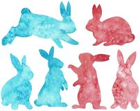 Silhouette of pink and blue rabbits. Easter clipart. Watercolor illustration vector illustration