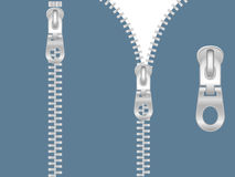 Clip-art of zipper. Clip-art of silver zipper zipped and unzipped Stock Images