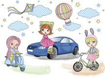Clipart BLYTHE GIRLS Color Vector Illustration Set Cartoon Picture. Clipart BLYTHE GIRLS Color Vector Illustration Set About Magic Cartoon Picture for Stock Image
