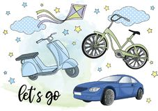 Clipart BLYTHE TRANSPORT Color Vector Illustration Set Cartoon Picture. Clipart BLYTHE TRANSPORT Color Vector Illustration Set About Magic Cartoon Picture for Stock Images