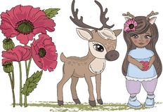 Fairy Clipart DEER GIRL Color Vector Illustration Set Cartoon Picture royalty free illustration