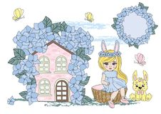 Fairy Clipart HARE GIRL Color Vector Illustration Set Cartoon Picture vector illustration