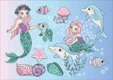 Sea Clipart MERMAIDS Color Vector Illustration Set Cartoon Picture royalty free illustration