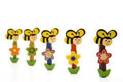 Clip with bee and flower Royalty Free Stock Image