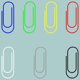 Clip blue green yellow red white grey black icon. Clip blue green yellow red white grey black icon set Royalty Free Stock Image