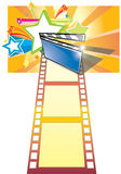 Clip board, film and star backgroundr (with ai fil. A movie clip board with sensation background Stock Photos