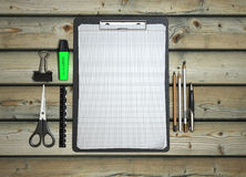 Clip board and papers and a pencil with a ruler on it 3d render Stock Photos