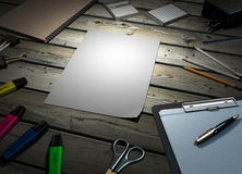 Clip board and papers and a pencil with a ruler on it 3d render Royalty Free Stock Photos