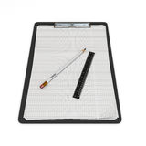 Clip board and papers and a pencil with a ruler on it 3d render Stock Photo