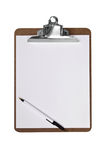 Clip board with pen Royalty Free Stock Photos