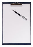 Clip board and pen. On a white stock photo