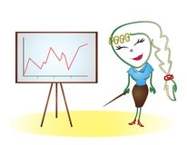 Clip at the board with the schedule. Fictional character clip works as a manager and she shows a graph Stock Photo