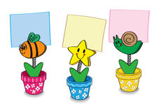 Clip cartoon. Note paper in pot bees flowers star Royalty Free Stock Photography