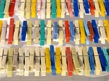 Clip colorate della lavanderia Fotografia Stock