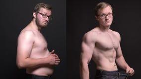 Clip compuesto del hombre obeso en el perfil que toca su estómago y bien hecho que presentan el resultado de perder el peso encen