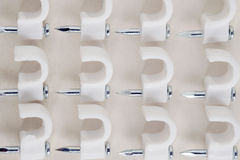 Clip cord. View of clip cord on dirty paper background. Top view. Flat lay stock image