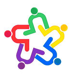 Clip de la gente del trabajo en equipo que abraza el logotipo Imagenes de archivo