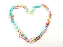 Clip de papel del corazón Foto de archivo