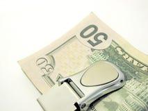 Clip dei soldi dei cinquanta dollari Fotografie Stock