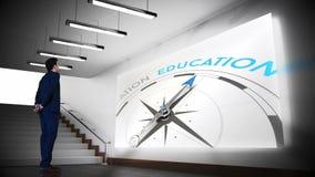Clip del compás de la educación de la visión del hombre de negocios almacen de metraje de vídeo