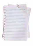 Clip del pape del papel y del metal de nota Fotos de archivo