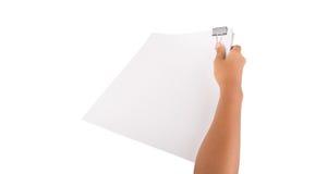 Clip del raccoglitore della tenuta della mano e Libro Bianco X Immagini Stock Libere da Diritti