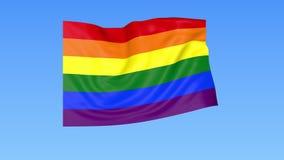 Clip della bandiera 4K dell'arcobaleno di sbattimento LGBT, loopable senza cuciture ProRes con l'alfa canale royalty illustrazione gratis