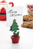 Clip della nota a forma di dell'albero di Natale Fotografia Stock Libera da Diritti