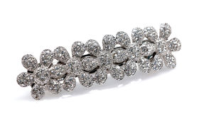 Clip di capelli fissata diamante Fotografia Stock Libera da Diritti
