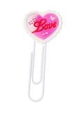 Clip di carta con il simbolo di figura del cuore di amore Immagini Stock