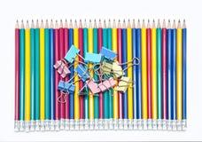 Clip di carta e matite Fotografia Stock