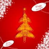 Graffetta rossa dell'albero di Natale Immagini Stock