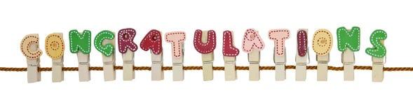 Clip di parola di congratulazioni Fotografie Stock