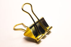 Clip dorata del raccoglitore Fotografia Stock Libera da Diritti