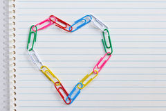 Clip Heart On Notebook Paper Royalty Free Stock Photo