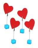 Clip Holders with Heart Symbols Stock Photo