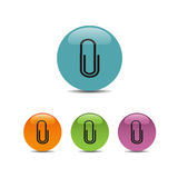 Clip icon on colored buttons. And white background Stock Photography