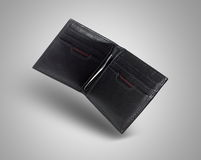 Clip Leather Wallet. Black clip leather wallet for men Stock Photography
