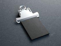 Clip metálico viejo con la pila de tarjetas de visita representación 3d Ilustración del Vector